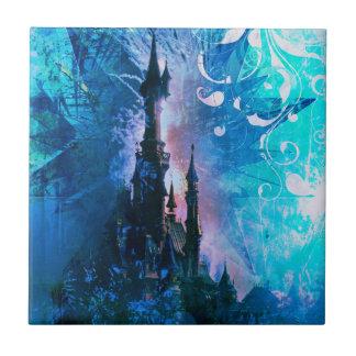 Blue Fairytale Fantasy Castle Ceramic Photo Tile