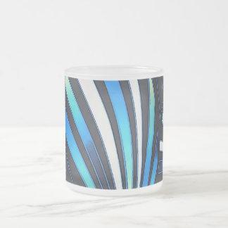 blue fan frosted glass coffee mug