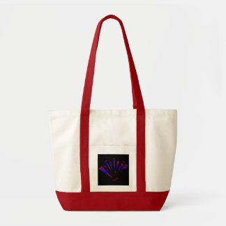 Blue Fantasia In Natural And Red Tote Bags
