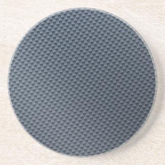 Blue Faux Carbon Fiber Patterned Coaster