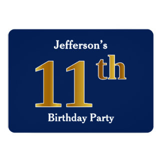 Blue, Faux Gold 11th Birthday Party + Custom Names Card