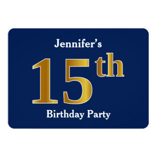 Blue, Faux Gold 15th Birthday Party + Custom Names Card