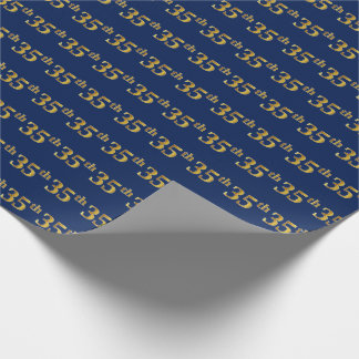 Blue, Faux Gold 35th (Thirty-Fifth) Event Wrapping Paper