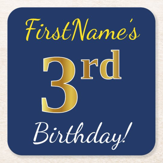 Blue, Faux Gold 3rd Birthday + Custom Name Square Paper Coaster
