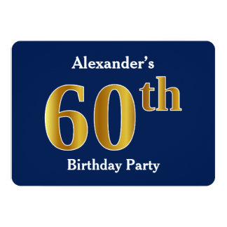 Blue, Faux Gold 60th Birthday Party + Custom Names Card