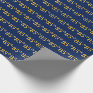 Blue, Faux Gold 85th (Eighty-Fifth) Event Wrapping Paper