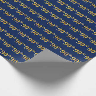 Blue, Faux Gold 90th (Ninetieth) Event Wrapping Paper
