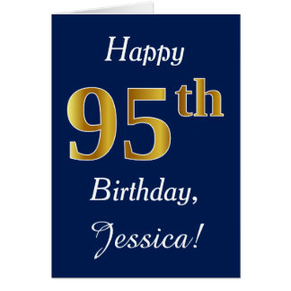 Blue, Faux Gold 95th Birthday + Custom Name Card
