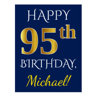 Blue, Faux Gold 95th Birthday + Custom Name Postcard