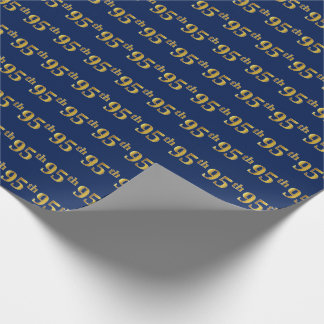 Blue, Faux Gold 95th (Ninety-Fifth) Event Wrapping Paper