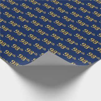Blue, Faux Gold 98th (Ninety-Eighth) Event Wrapping Paper