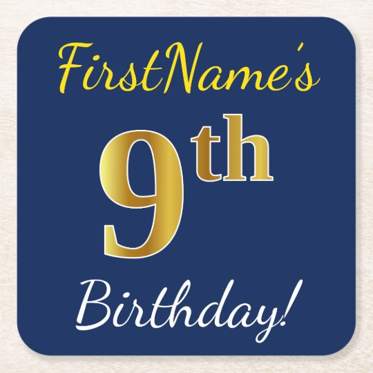 Blue, Faux Gold 9th Birthday + Custom Name Square Paper Coaster
