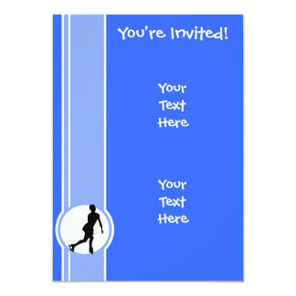 Blue Figure Skating 13 Cm X 18 Cm Invitation Card