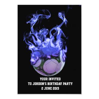 "Blue flames soccer ball and smoke 5"" x 7"" invitation card"