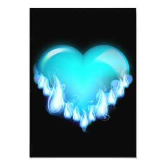 Blue-flaming-heart.png love icecold icy tough 13 cm x 18 cm invitation card