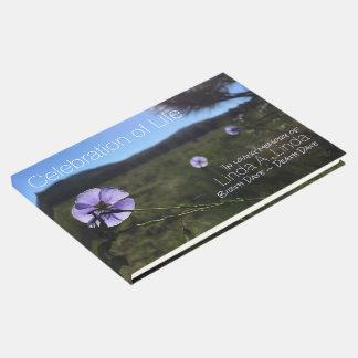 Blue Flax Flowers Photograph Memorial Guest Book