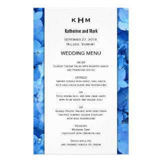 Blue Floral Border Wedding Menu Template 14 Cm X 21.5 Cm Flyer