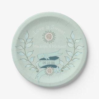 Blue Floral Custom Wedding Paper Plates