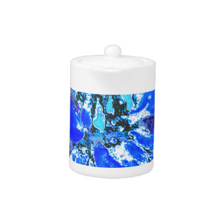 Blue Floral Dahlia Flower Pattern