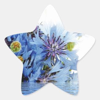 Blue floral decor arrangement clear water peaceful sticker