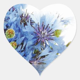 Blue floral decor arrangement clear water peaceful heart stickers