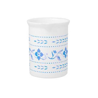 Blue Floral Decorative Porcelain Jug Drink Pitchers