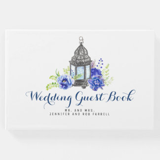 Blue Floral Lantern Wedding Guest Book