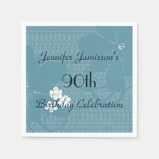 Blue Floral Paper Napkins 90th Birthday Party