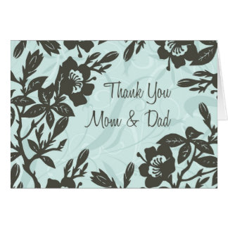 Blue Floral Parents  Wedding Day Thank You Card