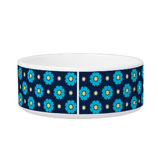Blue Floral Pattern Cat Bowl