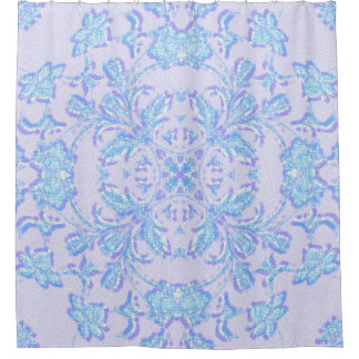 Blue Floral Pattern Shower Curtain, None Shower Curtain