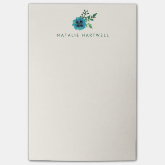 Blue Floral Personalized Sticky Notes