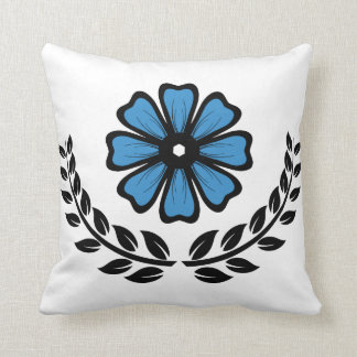 """Blue Floral - Polyester Throw Pillow 16"""" x 16"""""""
