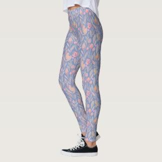 Blue Floral Romantic Leggings