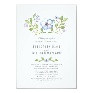 Blue Floral Watercolor Rehearsal Dinner Card
