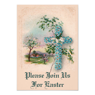 Blue Flower Cross Easter Invitation