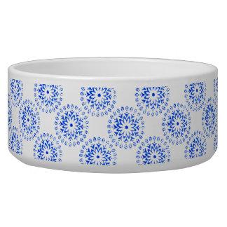 Blue Flower Mandalas Round Motif Design 1 + add Dog Water Bowls