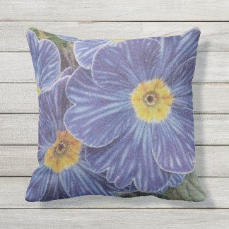 Blue flower outdoor floral throw pillow for garden