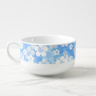 Blue Flower Pattern Soup Mug