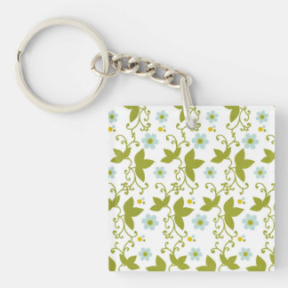 Blue flowers olive green vine pattern key ring