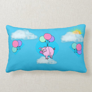 Blue Flying Pig Throw Pillow with Balloons