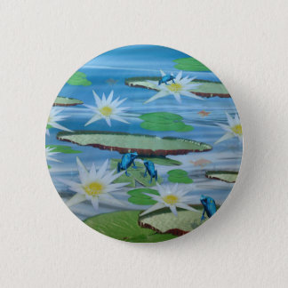 Blue Frogs On Lily Pads, 6 Cm Round Badge