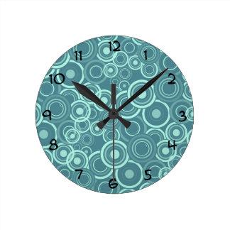 Blue Funky Circles Pattern Round Clock