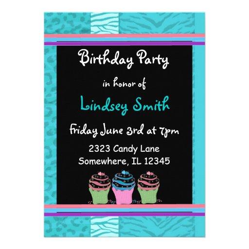 Blue Fur Pattern Birthday Invitation
