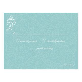 Blue Ganesha RSVP Cards Post Cards