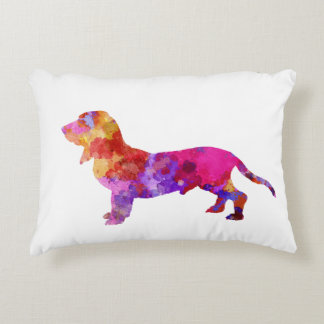 Blue Gascony Basset in watercolor Decorative Cushion