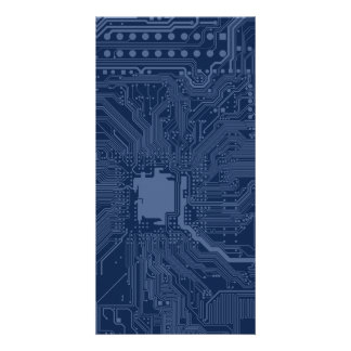 Blue Geek Motherboard Circuit Pattern Personalized Photo Card