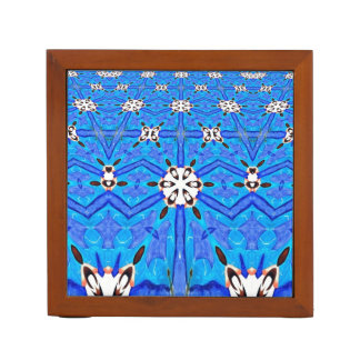 blue geometric and aspen trees desk organizer