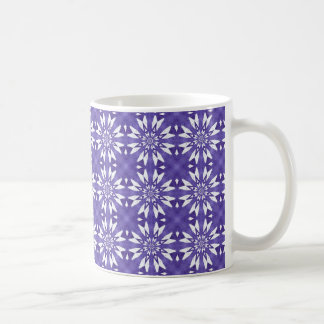 Blue geometric flowers coffee mug