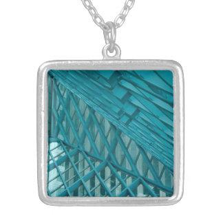 Blue Geometric Square Pendant Necklace